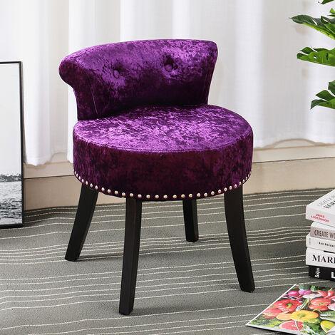 Crush Velvet Vanity Stool Bedroom Makeup Dressing Table Desk Chair Padded Seat