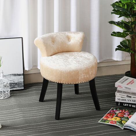 """main image of """"Crush Velvet Vanity Stool Bedroom Makeup Dressing Table Desk Chair Padded Seat"""""""