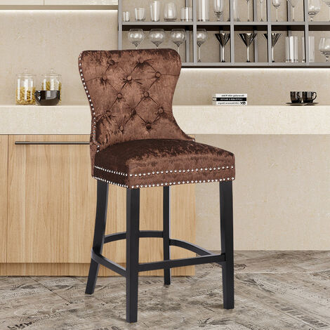 Crushed Velvet Bar Stool Stud Button Breakfast Kitchen Home Pub Counter Chair - Brown