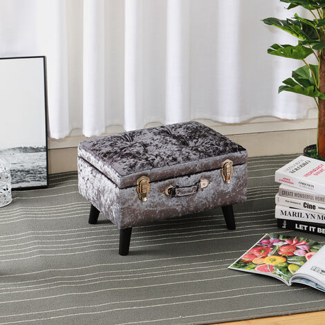 Crushed Velvet Button Storage Ottoman Seat Box Pouffe Footstool Vanity Table Stool Dark Grey