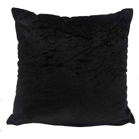 Crushed Velvet Cushion Cover Jet Black Bed Sofa Accessory Unfilled