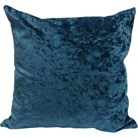 Crushed Velvet Cushion Cover Peacock Blue Bed Sofa Accessory Unfilled