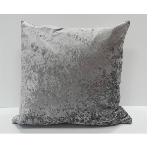 Crushed Velvet Cushion Cover Pewter Grey Bed Sofa Accessory Unfilled