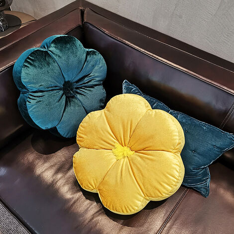 Crushed Velvet Cushion Round Flower Filled Cushions Sofa Pillows