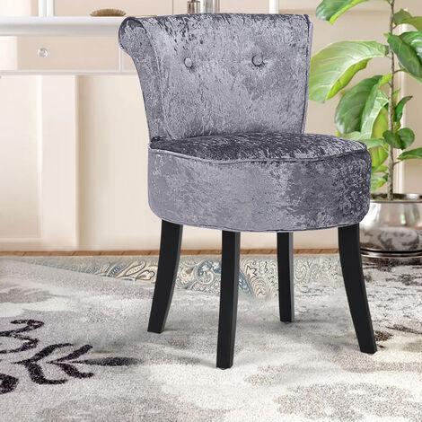 Crushed Velvet Dressing Table Stool Makeup Vanity Chair Scroll Back Seat