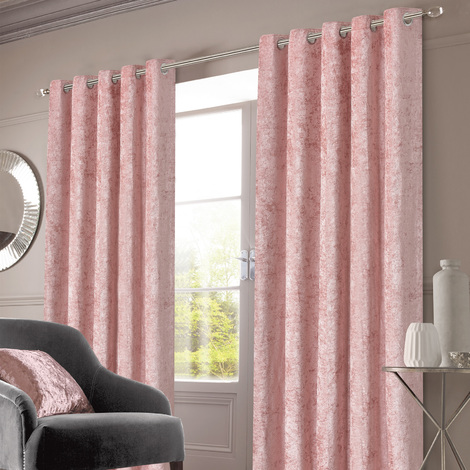 """Crushed Velvet Eyelet Ring Top Pair of Fully Lined Curtains - Blush 46"""" x 54"""""""