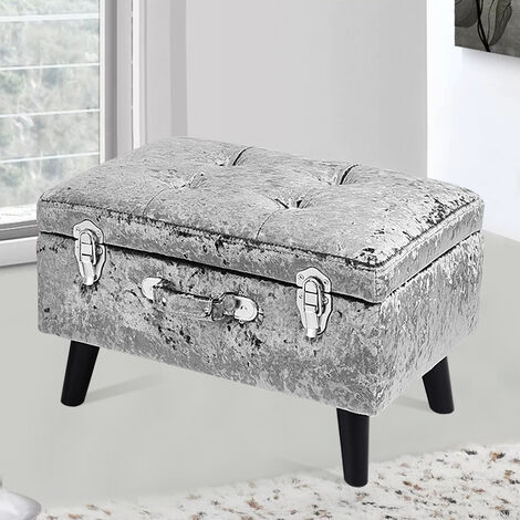 Crushed Velvet Footstool Ottoman Storage Box Blanket New