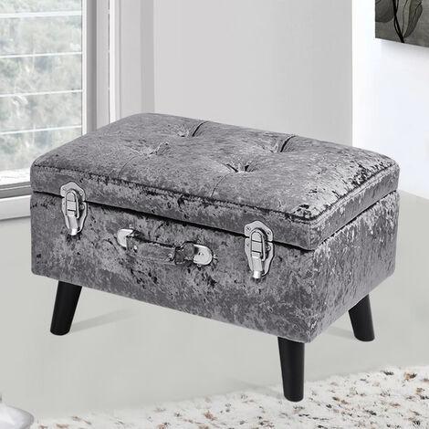 Crushed Velvet Storage Ottoman Seat Box Pouffee Foot Stool Crush Cubed