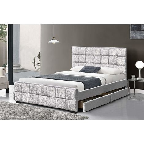 Crushed Velvet Upholstered Bed Frame Bedstead