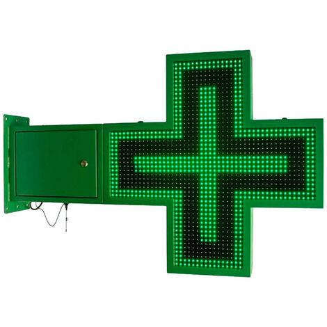 Cruz de farmacia LED monocolor verde programable 830x830mm
