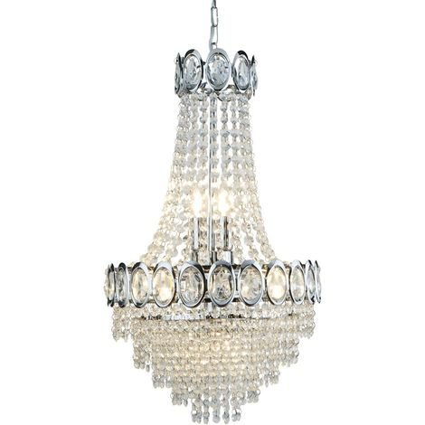 Crystal 6 Light Chrome Modern Chandelier with Clear Glass Bead