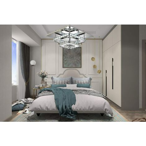 "main image of ""Crystal Ceiling Light 30CM Modern Square Ceiling Lamp 36W Led Chandelier Bilayer Chandelier Cool White"""