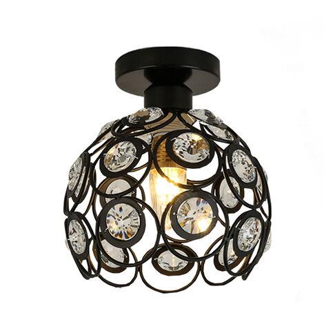 "main image of ""Crystal Ceiling Light Metal Iron Chandelier 20CM Retro Ceiling Lamp E27 Modern Chandelier for Kitchen Home Cafe Office Bar Bedroom Kitchen Living Room (Black)"""