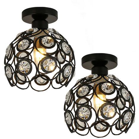 Crystal Ceiling Light Metal Iron Chandelier 20cm Retro Ceiling Lamp E27 Modern Chandelier for Kitchen Home Office Bar Bedroom (2pcs,Black)