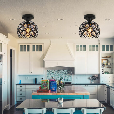 Crystal Ceiling Light Metal Iron Chandelier 20cm Retro Ceiling Lamp E27 Modern Chandelier for Kitchen Home Office Bar Bedroom (Black)
