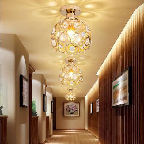 Crystal Ceiling Light Metal Iron Chandelier (White) 26cm Retro Ceiling Lamp E27 Modern Chandelier for Kitchen Home Office Bar Bedroom