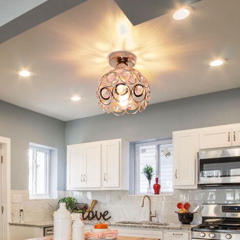 "main image of ""Crystal Ceiling Light Metal Iron Chandelier (White) Ø26cm Retro Ceiling Lamp E27 Modern Chandelier for Kitchen Home Office Bar Bedroom"""
