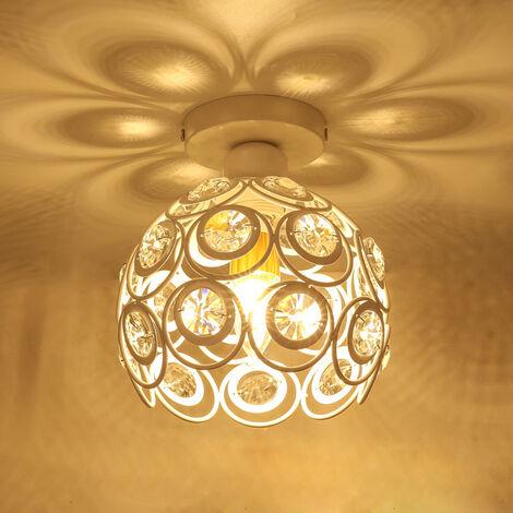 Crystal Ceiling Light Metal Iron Chandelier (White) 26CM Retro Ceiling Lamp Modern Chandelier for Kitchen Home Office Bar Bedroom Kitchen Living Room E27