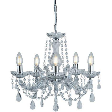 Crystal Chrome Fitting 5 Light Chandelier - Ceiling Light Decor