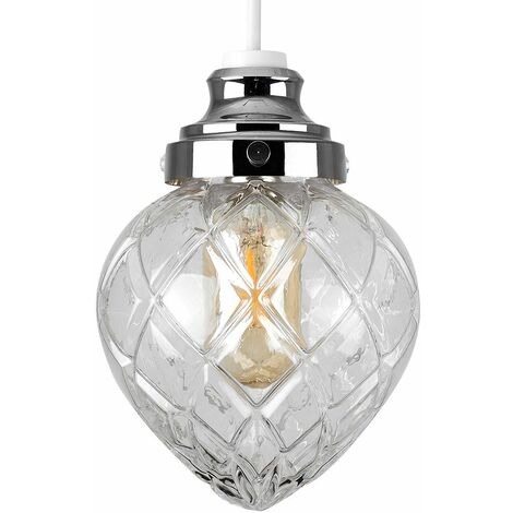 Crystal Effect Glass Non Electric Ceiling Pendant Light Shade Lighting