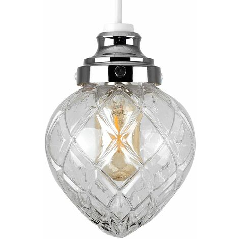 Crystal Effect Glass Non Electric Ceiling Pendant Light Shade Lighting - Warm White LED - Silver