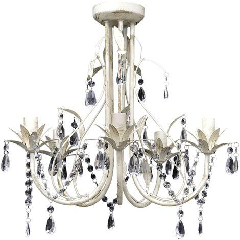 Crystal Pendant Ceiling Lamp Chandelier Elegant 5 Bulb Sockets - White
