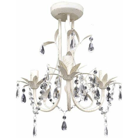 Crystal Pendant Ceiling Lamp Chandelier Elegant White QAH08347