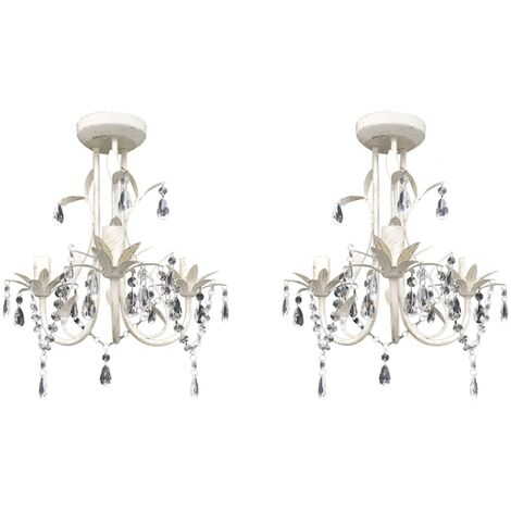 Crystal Pendant Ceiling Lamp Chandeliers 2 pcs Elegant White