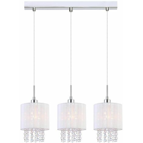 Crystal pendant light Astra WH Chrome, white metal