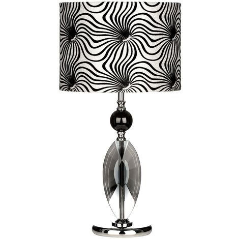 Crystal Table Lamp,/Metal Base, Fabric Shade - Modern Home Decor