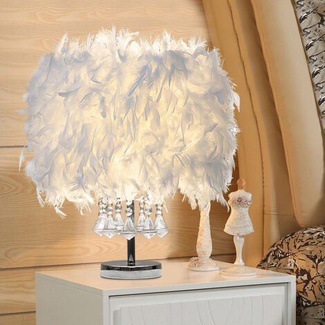 """main image of """"Crystal White Feather Table Lamp Desk Light Bedside Sitting Room"""""""