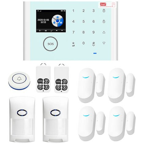 CS118 WiFi + GSM + GPRS 3 en 1 de red inteligente sistema de alarma casera Tuya APP de control remoto 433MHz hogar seguro timbre de la puerta inteligente Alertor compatible con Amazon Alexa control por voz
