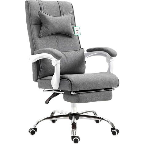 CTF Executive Reclining Computer Desk Chair with Footrest, Headrest and Lumbar Cushion Support