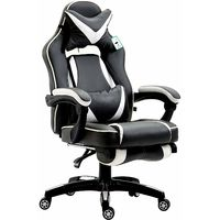 CTF High Back Recliner Racing Style Gaming Swivel Chair with Footrest & Adjustable Lumbar & Head Cushion