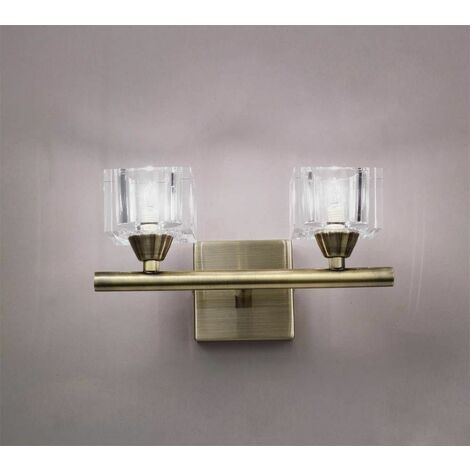 Cuadrax wall lamp with switch 2 Bulbs G9, antique brass
