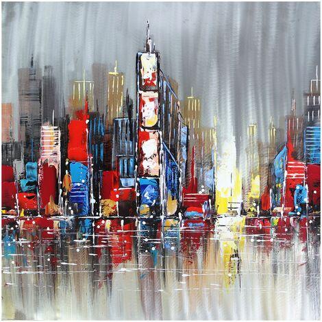 Cuadro abstracto paisaje con rascacielos. Óleo sobre lienzo (100 x 100 cm) - 50291011444277
