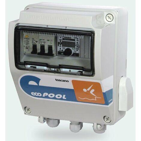 Cuadro Automatización Piscina con Reloj digital + transformador Luces 12V 100W