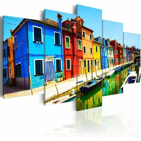 Cuadro - Casas en colores del arco iris tamaño 100x50