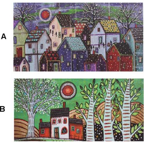 Cuadro casas y árboles con gemas. Dos modelos. (80 x 40 x 3 cm) A