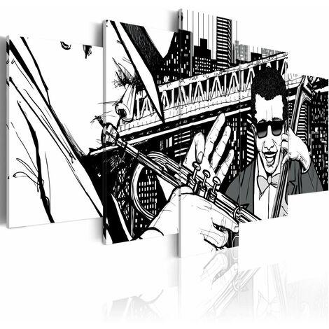 Cuadro - Concierto de jazz en el fondo de los rascacielos de Nueva York - 5 piezas