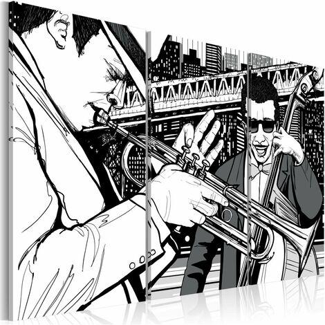 Cuadro - Concierto de jazz en el fondo de los rascacielos de Nueva York