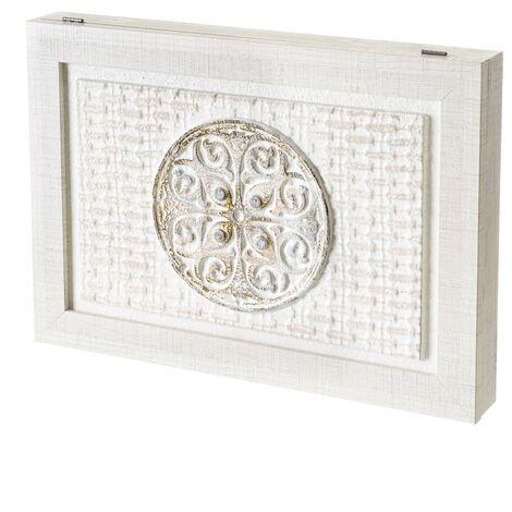 "main image of ""Cuadro cubrecontador blanco pintado con mandala sobre lienzo para cajas eléctricas de 46x31 cm"""