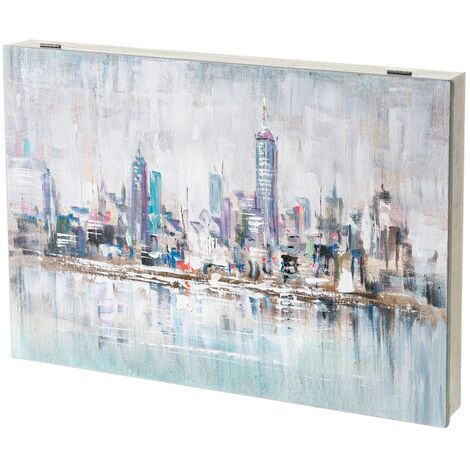 Cuadro cubrecontador pintado en lienzo azul con paisaje NYpara cajas eléctricas de 46x31 cm