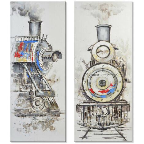 Cuadro de lienzo con locomotora para salón/dormitorio 60 x 150 cm Diseño Vanguardista - Hogar y más B