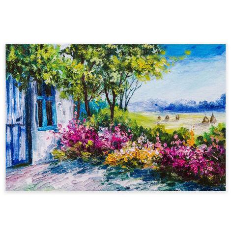 Cuadro de paisaje en lienzo azul de 80x120 cm