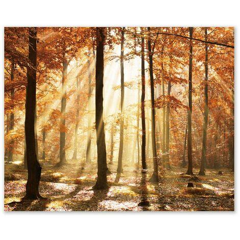 Cuadro de paisaje en lienzo naranja de 100x80 cm