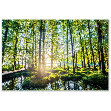Cuadro de paisaje en lienzo verde 100x80 cm
