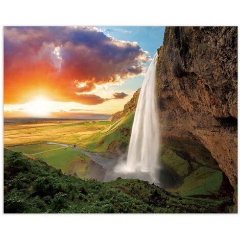 Cuadro de paisaje en lienzo verde 80x100 cm