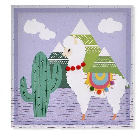 Cuadro de una Llama realizado en Lienzo, para Dormitorio/Salón. Diseño Animal con estilo Kids 28cm X 28cm X 2,5cm - Hogar y Más B