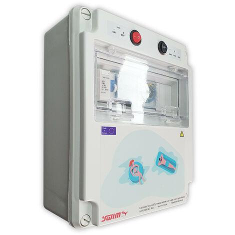 Cuadro eléctrico para piscina con Fuente de alimentación y Contactor para motor apto para Clorador